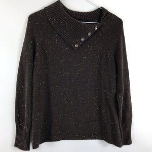 J jill Fleck Knit Mockneck Pullover Sweater